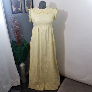 Vintage Yellow Maxi Dress Peter Pan Collar Size S